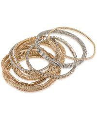 ABS By Allen Schwartz - Crystal Two-tone Multistrand Stretch Bracelet - Lyst
