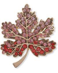 Anne Klein - Crystal Maple Leaf Brooch - Lyst