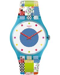 Swatch | Quilted Time Analog Printed Silicone Strap Watch | Lyst