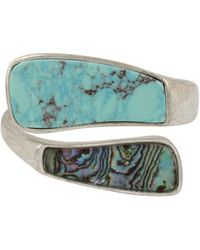 Robert Lee Morris - Santa Fe Crystal, Turquoise And Abalone Bangle Bracelet - Lyst
