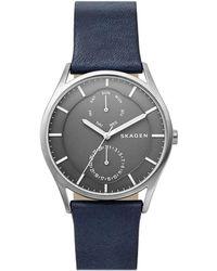 Skagen - Holst Titanium Blue Leather Multifunction Watch - Lyst