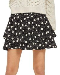 TOPSHOP - Shirred Tiered Spotted Skirt - Lyst