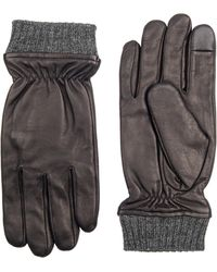 Dockers - Leather Rib-knit Heathered Gloves - Lyst