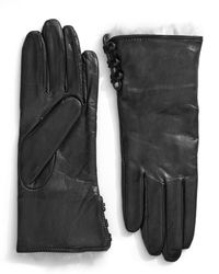 Lord & Taylor - Wrist Length Side Button Leather And Rabbit Fur Gloves - Lyst
