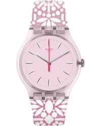 Swatch - Pink Dial Analog Printed Silicone Strap Watch - Lyst