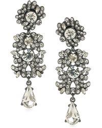 ABS By Allen Schwartz - Crystal Floral Drop Earrings - Lyst