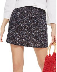 TOPSHOP - Winter Floral Shirred Mini Skirt - Lyst