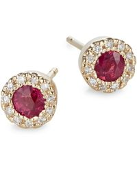 Effy - 14k Yellow Gold Ruby Earrings With 0.09tcw Diamonds - Lyst