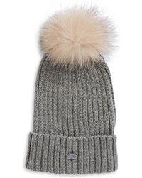 Pajar - Ash Fox Fur Pom-pom Beanie - Lyst