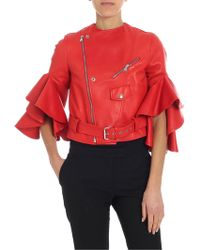 Alexander McQueen - Red Leather Jacket With Ruffled Sleeves - Lyst