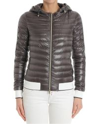 Herno - Taupe Colored Down Jacket With White And Lurex Inserts - Lyst