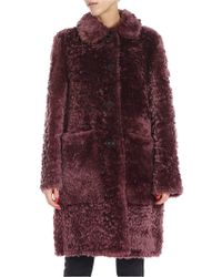 DESA NINETEENSEVENTYTWO - Wine-colored Sheepskin Coat - Lyst