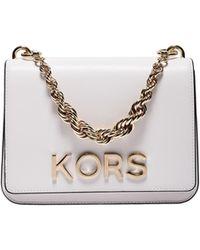 Michael Kors - Mott Large Shoulder Bag In White Leather With Kors Detail - Lyst