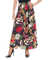 Aspesi - Green Pleated Floral Printed Skirt - Lyst