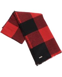 Woolrich - Red And Black Check Scarf - Lyst