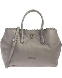 Mia Bag - Laminated Grey Bag With Braided Chain - Lyst