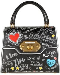 Dolce & Gabbana - Black Welcome Bag With Graffiti Print - Lyst