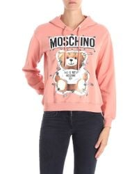 Moschino - Pink Hoodie With Teddy Bear And Safety Pin Prints - Lyst