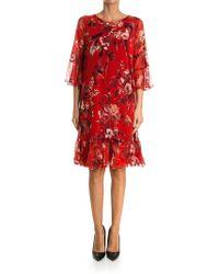 Fuzzi - Hummingbird Bell Sleeve Silk Dress - Lyst