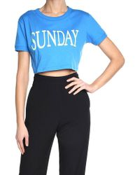 Alberta Ferretti - Light Blue Sunday Crop T-shirt - Lyst
