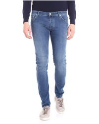 Jacob Cohen - Blue 5-pocket Jeans With Green Stitching - Lyst