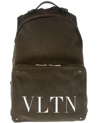 Valentino - Army Green Backpack With Logo - Lyst