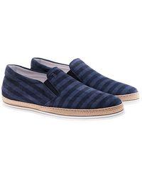 Tod's - Blue Striped Slip On - Lyst
