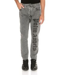 Palm Angels - Needled Logo Jeans In Grey - Lyst