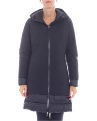 Save The Duck - Long Flared Black Down Jacket - Lyst