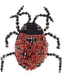 Rochas - Ladybird Brooch With Rhinestones - Lyst