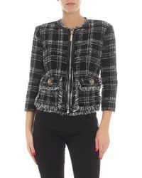 Elisabetta Franchi - Black And White Check Printed Jacket - Lyst