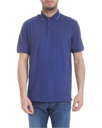 Z Zegna - Blue Polo Shirt With White Stripes - Lyst