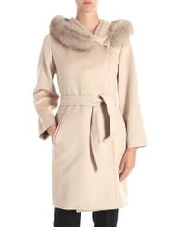 Max Mara Studio - Mango Beige Coat With Fur Insert - Lyst