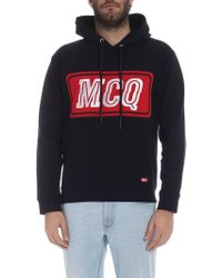 de78ff2b0ec4 Lyst - McQ Black white  mcq  Text Logo Pullover Hoodie in Black for Men