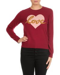 Twin Set - Raspberry-colored Wool Blend Pullover - Lyst