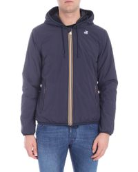 K-Way - Blue Jacket With Multicolour Zip - Lyst