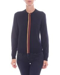 Paul Smith - Blue Cardigan With Multicolor Detail - Lyst