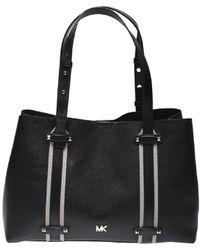 42563986c8a6 Michael Kors Large Griffin Black Leather Satchel Bag in Black - Lyst