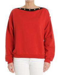 Philosophy Di Lorenzo Serafini - Red Sweatshirt With Boat Neckline - Lyst