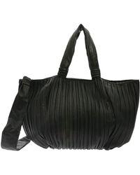 Max Mara - Frances Black Shopper In Pleated Nappa Leather - Lyst
