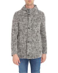 Herno - Brown White And Anthracite Wool And Alpaca Coat - Lyst