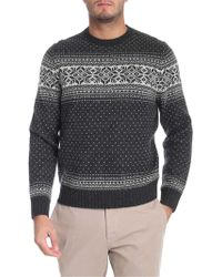 Brooks Brothers - Grey And White Crew Neck Pullover - Lyst
