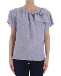 Eleventy - Blue And White Striped Blouse - Lyst