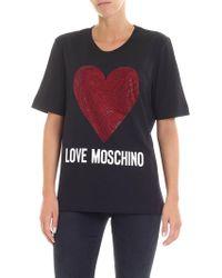 Love Moschino - Rhinestones Heart Black T-shirt - Lyst