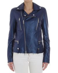 DESA NINETEENSEVENTYTWO - Blue Leather Jacket - Lyst