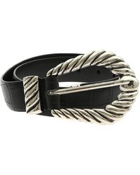 Alberta Ferretti Black Croco Print Leather Belt
