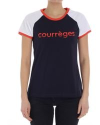 Courreges - Blue T-shirt With Logo - Lyst
