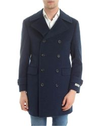Canali - Blue Double-breasted Wool Coat - Lyst