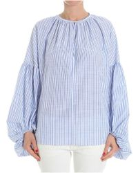 Stella Jean - White Blouse With Light-blue Stripes - Lyst