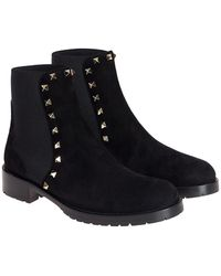 5108e6f16 Valentino Studded Leather Chelsea Boots in Black - Lyst